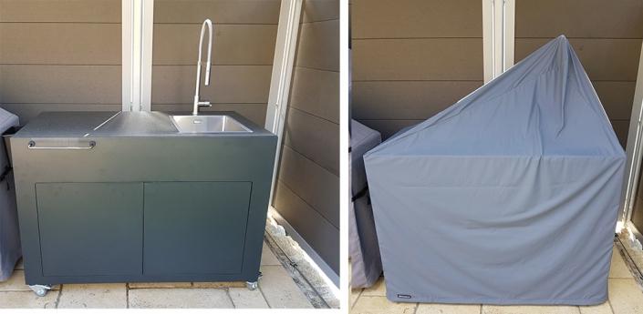 Outdoorküche mit Wasserhahn Abdeckung