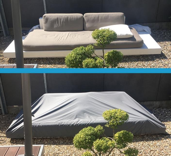 Lieber eine Wettertueten Schutzhülle für die Lounge im Garten nutzen, um die Polster nicht jedesmal wegräumen zu müssen. Auch Polstertaschen oder spezielle Kisten sind nicht immer wasserdicht