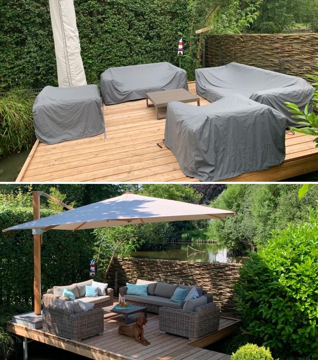 Hier wurden die Loungemöbel einer kompletten Terrasse auf Maß gefertigt. Abdeckungen speziell angepasst